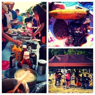 Amizade volunteers and local community members enjoy a pig roast in Williamson, WV