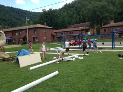 Amizade volunteers building playgrounds in Williamson, WV