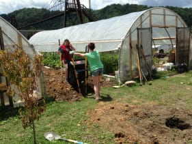 Amizade volunteers move soil at a garden in Williamson, WV
