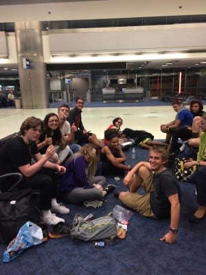 Spirits are high in Miami! (despite the fact that it is 4:00am and our flight has been cancelled)