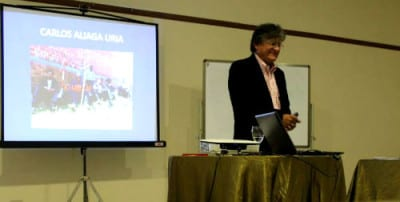 Carlos Aliaga Uria spoke to the group about eco-bio-social strategies to address climate change and environmental sustainability