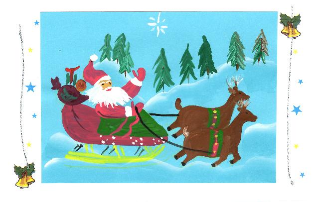 santa and his sleigh bell glitter border on amizade