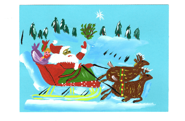 santa and his sleigh plain border on amizade